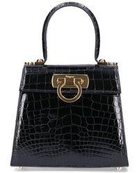 Ferragamo Gancini Clasp Top Handle Bag - Black