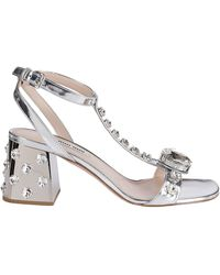 Miu Miu Crystal Embellished Sandals - Metallic