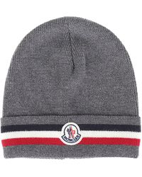 1c1ca2abb Moncler Striped Wool Beanie Hat in Gray for Men - Lyst