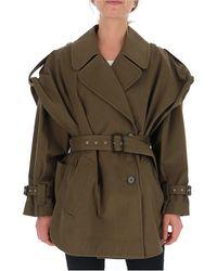 Alberta Ferretti Double-breasted Short Trench Coat - Green