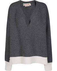 Marni Torn Detail Knitted Jumper - Grey