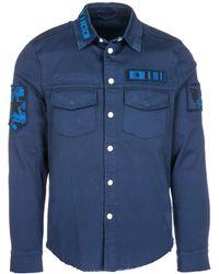 Valentino Embellished Patchwork Distressed Shirt - Blue