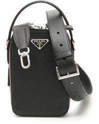 Prada - Zipped Saffiano Shoulder Bag - Lyst