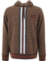 Burberry Monogram Print Hooded Sweatshirt - Brown