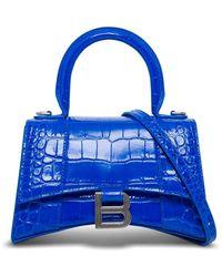 Balenciaga Hourglass Crossbody Bag In Blue Crocodile Printed Leather