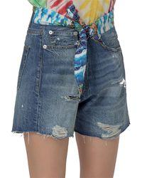 R13 Tie Waist Crossover Denim Shorts - Blue