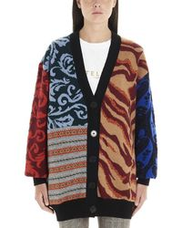 Stella McCartney Oversize Patchwork Cardigan - Blue