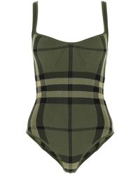 Burberry Check-printed Ribbed Knit Bodysuit - Green