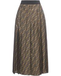 Fendi Ff Motif Pleated Midi Skirt - Brown
