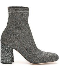 Miu Miu Glitter Sock Boots - Metallic