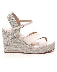Jimmy Choo Dellena 100 Wedge Sandals - White