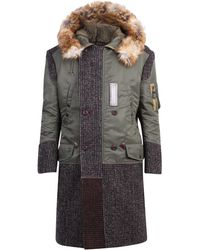 Junya Watanabe Contrast Panel Hooded Coat - Multicolor