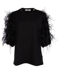 Valentino Feathered Sleeve T-shirt - Black