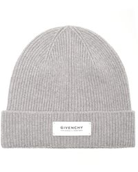 Givenchy Logo Patch Ribbed Beanie - Grey