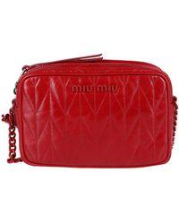 Miu Miu - Quilted Logo Crossbody Bag - Lyst