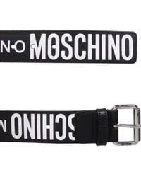 Moschino Leather Belt With Logo - Black