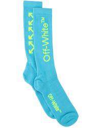 Off-White c/o Virgil Abloh Logo Embroidered Arrows Socks - Blue