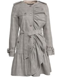 Boutique Moschino Ruffle-detail Belted Coat - Gray