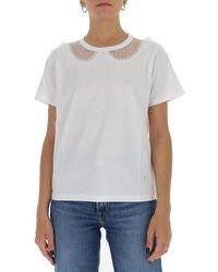 RED Valentino Collar-detailed T-shirt - White