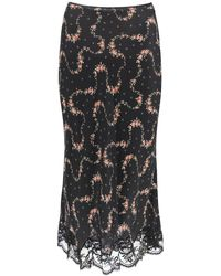 Paco Rabanne Floral Skirt With Lace 34 - Black