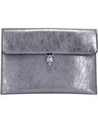 Alexander McQueen Skull Buckle Clutch Bag - Metallic