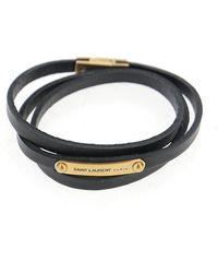 Saint Laurent Logo Wrap Bracelet - Black
