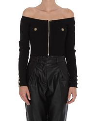 Balmain Off The Shoulder Knitted Top - Black