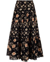 Ulla Johnson Tulia Floral Print Skirt - Black