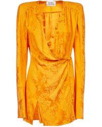 The Attico Floral Jacquard Dress - Orange