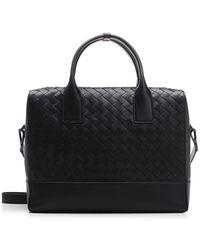 Bottega Veneta New Intrecciato Leather Briefcase Bag - Black