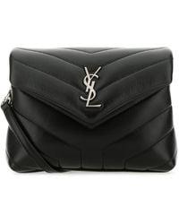 Saint Laurent Mini Loulou Matelassé Leather Crossbody Bag - Black