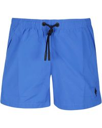 Marcelo Burlon Logo Print Swim Shorts - Blue