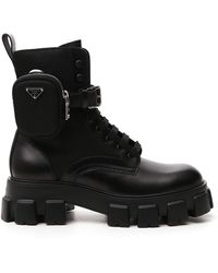 Prada Strapped Pouch Combat Boots - Black