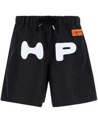 Heron Preston Logo Printed Drawstring Shorts - Black