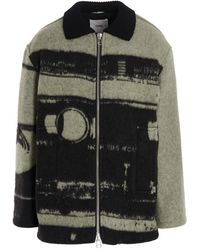 OAMC Vintage Tape Printed Fleece Jacket - Green