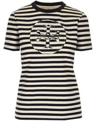 Tory Burch Striped Logo Patch T-shirt - Multicolor