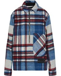 we11done Oversized Check Print Shirt Jacket - Blue