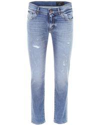 Dolce & Gabbana Distressed Stretch Denim Jeans - Blue