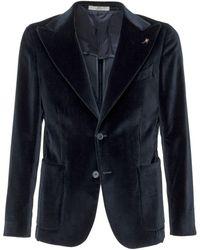 Corneliani Velvet Single-breasted Blazer - Blue