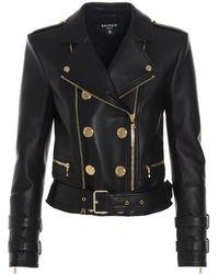 Balmain Double Breasted Biker Jacket - Black