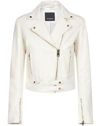 Pinko Zipped Biker Jacket - White