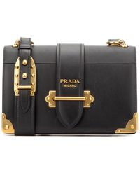 Prada Cahier Logo Shoulder Bag - Black
