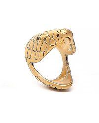 Saint Laurent Serpent Head Ring - Metallic