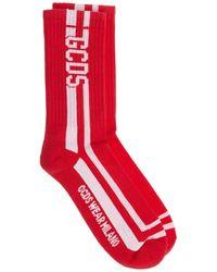 Gcds Men's Low Socks Logo Round - Red