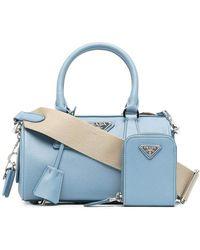 Prada Logo Plaque Saffiano Top Handle Bag - Blue