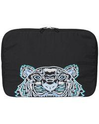 KENZO Embroidered Tiger Motif Briefcase - Black