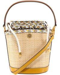 Tory Burch Robinson Straw Mini Bucket Bag - Natural