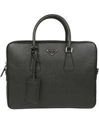 Prada Triangle Logo Briefcase - Black