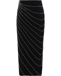 Alessandra Rich Bead Embellished High-slit Skirt - Black