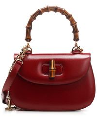 Gucci Bamboo Detail Tote Bag - Red